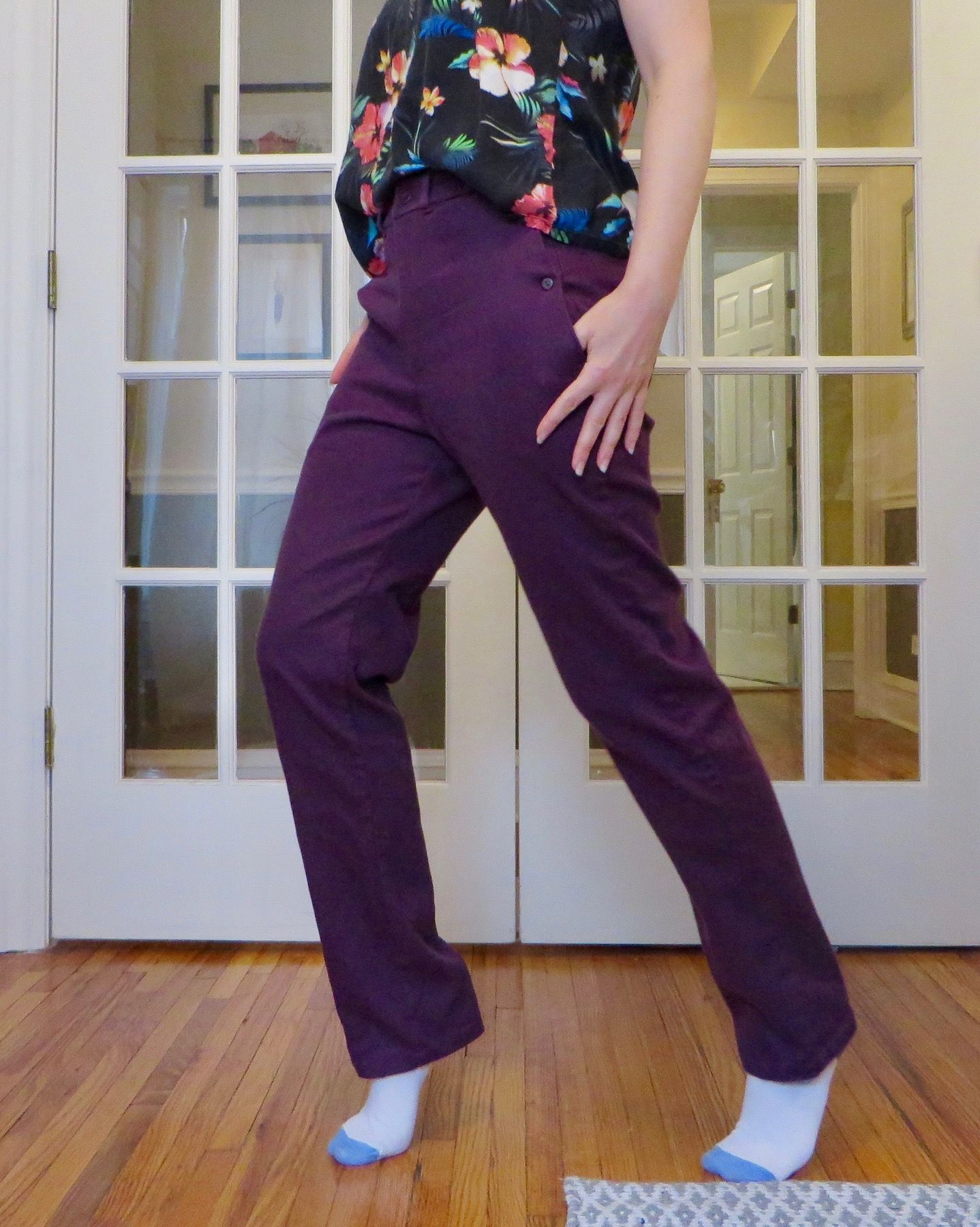 Side view of Charlie Chinos, showing the pocket button